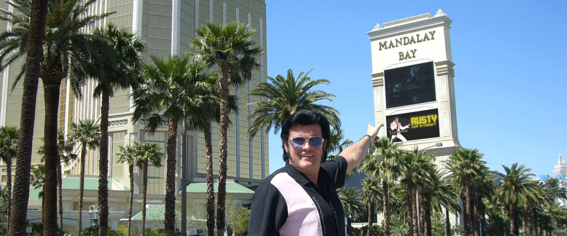 Rusty vor dem Mandalay Bay Hotel in Palm Springs, Elvis Tribute Artist im Forum Altötting